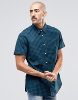 Barbour Shirt In Tartan Check Short Sleeves In Tailored Slim In Navy