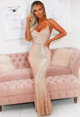Pink Boutique Regal Beauty Rose Gold Cowl Neck Sequin Maxi Dress