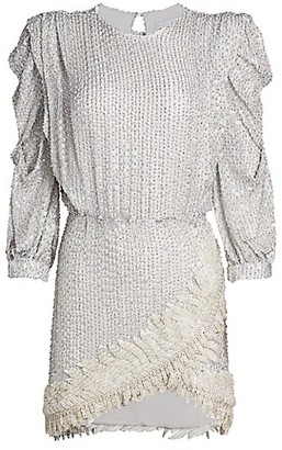 Raisa Vanessa Long-Sleeve Sequin Mini Dress