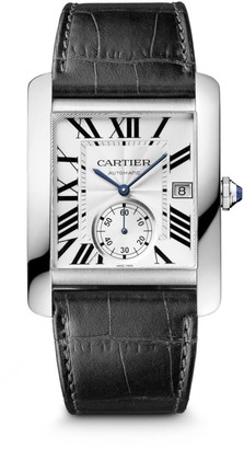 Cartier Tank MC Large Stainless Steel & Black Alligator-Strap Watch