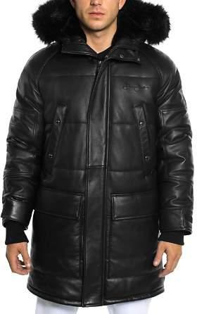 Sean John Faux Fur-Trimmed Leather Snorkel Jacket