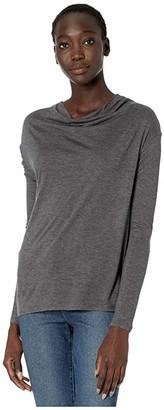 Vince Long Sleeve Drop Shoulder Tee (Black) Women's Clothing