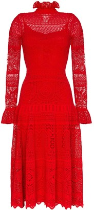 Alexander McQueen Pointelle Lace Midi Dress