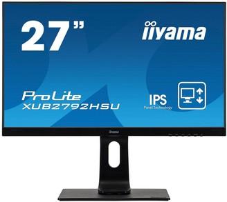 "Iiyama Prolite Xub2792Hsu-B1 27"" Ips, Hd, Ultra Slim Bezel, Black, Hdmi, Display Port, Usb Hub, Height Adjustable"