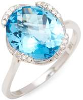 Effy Women's 14K White Gold Diamond & Blue Topaz Ring