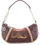 Dolce & Gabbana Brown Suede Shearling Gold Tone Baguette Handbag BP4311 MHL