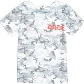 River Island Mini boys khaki green camo gothic T-shirt
