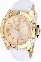 Juicy Couture Women's 1900938 Surfside Gold Case White Leather Strap Watch