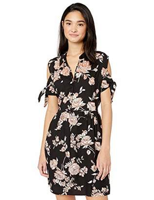 Angie Women's Button Front Tie Sleeve Dress