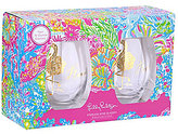 Lilly Pulitzer Lovers Coral Stemless Wine Glass Set