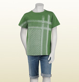 Gucci Green Cotton Jersey T-Shirt With Kefia Pattern Print