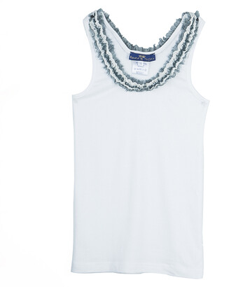 Roma e Tosca White Lace Trim Sleeveless Tshirt 10 Yrs