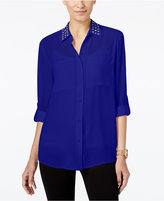 MICHAEL Michael Kors Embellished Roll-Tab Blouse