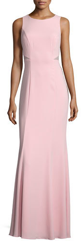 Laundry by Shelli Segal Sleeveless Mesh-Inset Mermaid Gown, Coral Blush