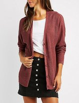 Charlotte Russe Shaker Stitch Button-Up Cardigan