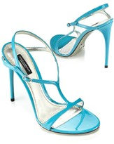 Patent T-Strap Sandal, Turquoise