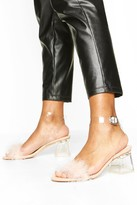 boohoo Feather Low Clear Heel 2 Parts