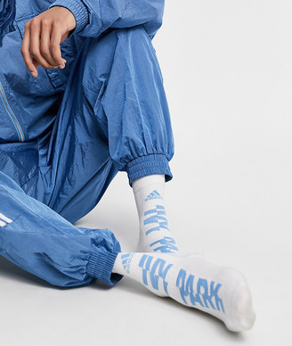 Ivy Park adidas x 3-pack crew socks in white and light blue