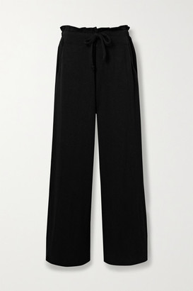 YEAR OF OURS Stretch Modal And Cotton-blend Wide-leg Track Pants - Black