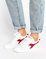 Diadora Game Low Trainers In White & Red