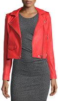 IRO Studded Leather Moto Jacket, Blood Orange