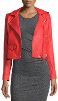 IRO Studded Leather Moto Jacket, Blood Orange