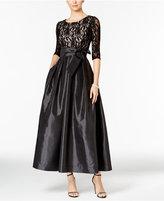 R & M Richards Petite Glitter Lace Taffeta Gown