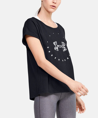 Under Armour Women's Tee Shirts Black - Black Circular Wordmark Short-Sleeve Tee - Women