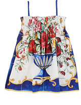 Dolce & Gabbana Smocked-Bodice Floral Cotton Poplin Dress