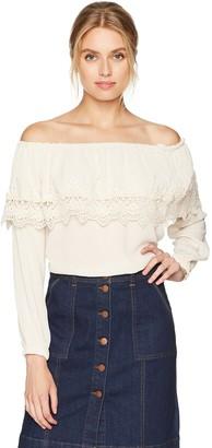 Taylor & Sage Women's Off The Shoulder Crochet Babydoll Top