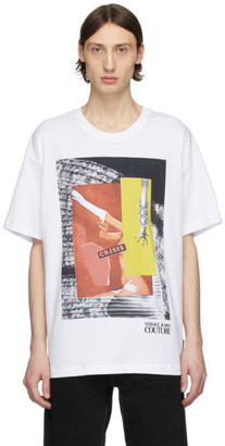 Versace White Rosa Burgess Edition Crisis Print T-Shirt