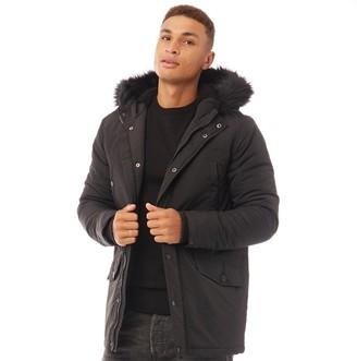 Brave Soul Mens Wonderwall Parka With Faux Fur Hood Black