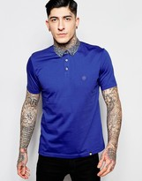 Pretty Green Polo Shirt with Floral Collar in Slim Fit Navy