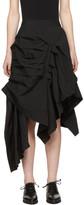 Yohji Yamamoto Black Asymmetric Knife Pleat Skirt