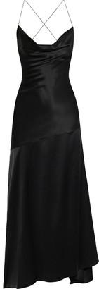 Michael Lo Sordo Caroline Open-back Draped Silk-satin Gown