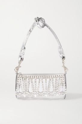 Area Leather-trimmed Crystal-embellished Pvc Shoulder Bag - Silver