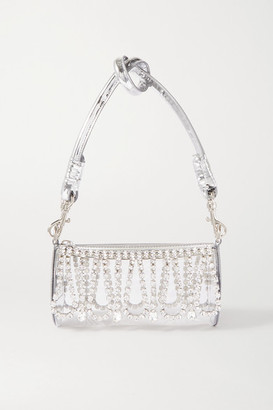 Area Leather-trimmed Crystal-embellished Pvc Shoulder Bag - Silver