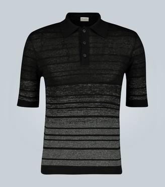 Saint Laurent DAgradA linen-blend striped polo shirt