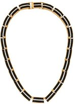 Rachel Zoe Crystal & Leather Link Necklace