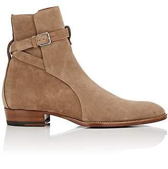 Saint Laurent Men's Wyatt Suede Jodhpur Boots - Sand