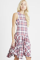 BCBGeneration Dropped-Waist Plaid Print Tank Dress - Pink