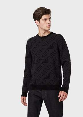 Emporio Armani Sweater With Chenille Details And All-Over Logo
