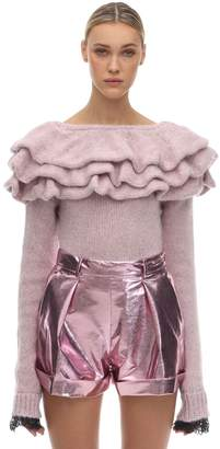 Philosophy di Lorenzo Serafini RUFFLED TECHNO KNIT SWEATER