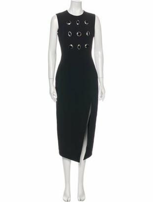 David Koma Crew Neck Long Dress Black