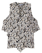 Derek Lam 10 Crosby Printed Lace-Up Blouse