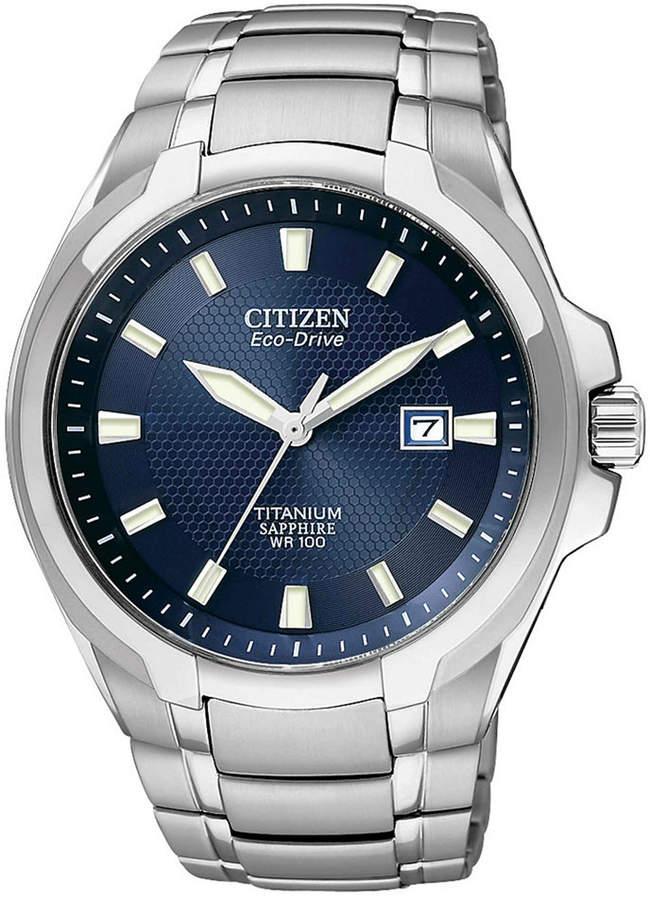 Citizen Men's Eco-Drive Silver-Tone Titanium Bracelet Watch 42mm BM7170-53L