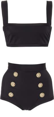 Balmain Button-Embellished High-Waisted Bikini