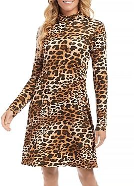 Karen Kane Quinn Turtleneck Leopard Print Dress