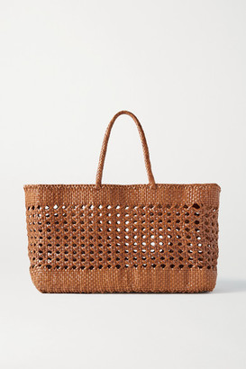 DRAGON DIFFUSION Cannage Max Woven Leather Tote - Tan
