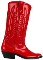 Golden Goose Deluxe Brand Patent Leather Stitched Cowboy Boots